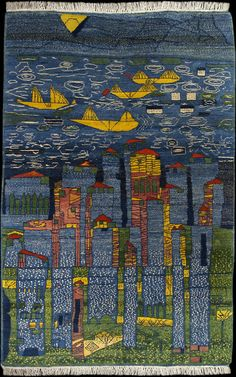 Hundertwasser 117B Yellow Ships--Sea of Tunis and Taormina knotted work Atelier Zia Uddin in Mazar Shariff, Afghanistan, 1999 (hand-knotted carpet, 1st to meet the artist's standards of artistry & craftsmanship)