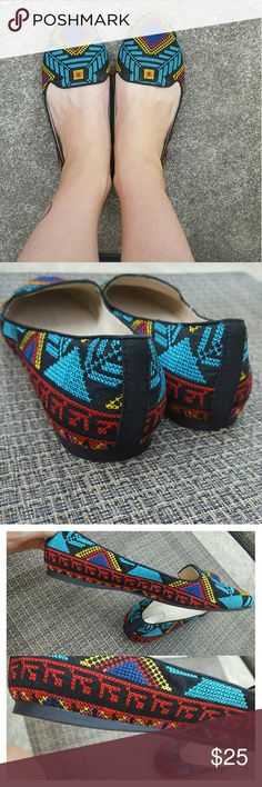 INC International Concepts Tribal Flats Colorful flats with a tribal cross stitch design. In great condition. INC International Concepts Shoes Flats & Loafers