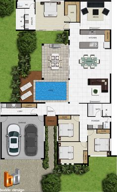luxury villas tuscany 4 bedrooms, 2 baths, double garage, Private pool, and larg… - Architektur Pool House Plans, House Layout Plans, Dream House Plans, Modern House Plans, One Floor House Plans, Layouts Casa, House Layouts, Home Design Floor Plans, 3d Architectural Visualization