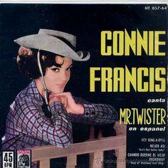 CONNIE FRANCIS / MR. TWISTER (EN ESPAÑOL) / HEY RING-A-DING   2 (EP 1962) Pop Rock Internacional, Twister, Connie Francis, Lp Cover, Weird And Wonderful, Album Covers, Nostalgia, Eyes, Stars