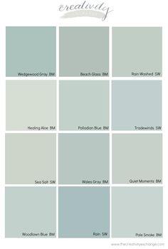 Bathroom Paint Colors, Interior Paint Colors, Paint Colors For Home, House Colors, Interior Design, Coastal Paint Colors, Blue Gray Paint Colors, Blue Green Paints, Grey Paint