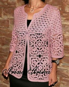 scheme jacket , motives Unusual knitted crochet cardigan with motifs similar to macram. Gilet Crochet, Crochet Coat, Crochet Jacket, Crochet Cardigan, Crochet Granny, Crochet Clothes, Crochet Stitches, Crochet Patterns, Crochet Motif