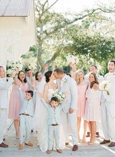 Wedding Party | Tybee Island Wedding Chapel Wedding | Seersucker Wedding | Photography by The Happy Bloom Fine Art Photography | www.thehappybloom.com | Savannah Wedding Photographer | Blue and Pink Wedding | Kiss
