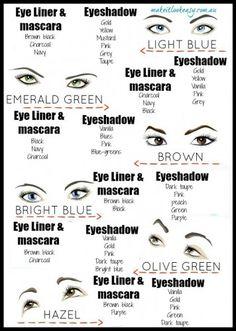Eye shadow to eye colouWhich colour eyeshadow should I choose for my eye colour? — MAKE IT LOOK EASYr branded Grey Eyeshadow, Brown Eyeliner, Eyeshadow Tips, Purple Mascara, Olive Green Eyes, Olive Skin, Beauty Makeup, Green Eyes