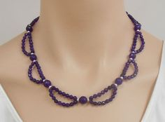 Amethyst and sterling silver scalloped necklace by SilverSerenade, $49.00