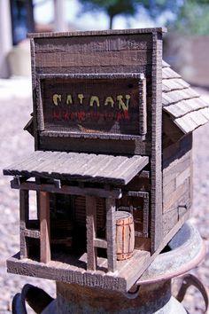 Antique style birdhouse, old west birdhouse, saloon bird house, barnwood birdhouse, folkart birdhouse, rustic birdhouse, functional