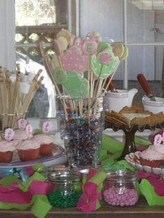 Pink and Green Tea Party Cookie Bouquet