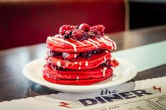 These red velvet pancakes are worth waking up for.