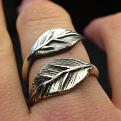 Leaf ring in sterling silver - Made to your size. $75.00, via Etsy.