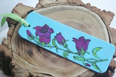 Lovely Handpainted Bookmark Purple Flowers by ArtfullyReDesigned, $7.00