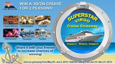 Enter and get a chance to win 1 of 3 SuperStar Virgo 3D/2N cruise for 2!   Like us between 20 May - 2 June 2013. Share it with your friends to increase chances of winning!
