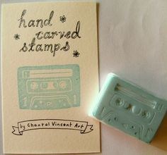 Materialism: Hand-CarvedStamps by Chantal Vincent!  http://www.etsy.com/shop/ChantalVincent Isn't this audio cassette sta...