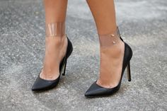 diy transparent ankle cuffs #DIY found by http://cupcakesandcashmere.com/