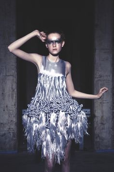 Sculptural Fashion - metallic dress with tactile 3D textures, twists & tassels; fashion as art // Iris Van Herpen
