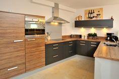 modern kitchen - wood texture / black