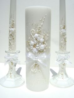 Wedding unity candle set  3 candles and 2 by PureBeautyArt on Etsy, $62.00