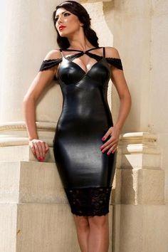 Robe Moulante Midi Robes Sexy Sensual En Cuir #robenoire chic style modebuy.com