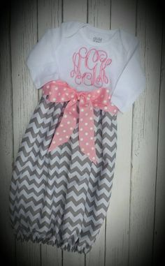 Chevron baby gown Monogramed Grey Chevron Gown by LuLuNMeBowtique