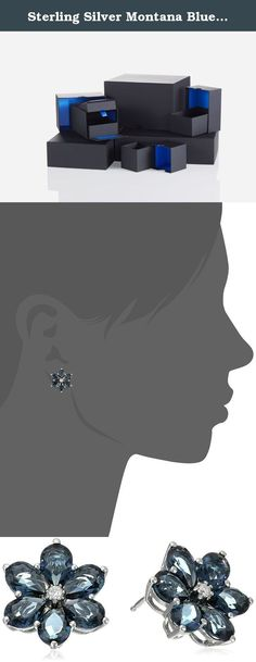 Sterling Silver Montana Blue Crystal and White Cubic Zirconia Flower Stud Earrings. Pretty floral stud earrings featuring cubic zirconia centerpiece framed with faceted petal-shape crystals. Friction-back posts. Imported.