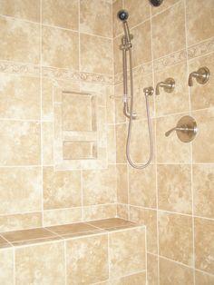 Ceramic Tile Showers without Doors   Ceramic Tile Shower Bench Seat