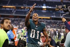 Joradn Matthews #81 Philadelphia Eagles WR celebrates his 41 yd game winning overtime touchdown against the dallas cowboys. Matthews finished the night with 9 rec 133 yds and 1 TD as the games leading receiver.