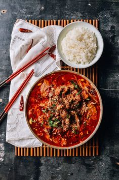 Sichuan Boiled Beef (水煮牛肉 – Shuizhu Niurou) with soybean sprouts and Enoki mushrooms Asian Recipes, Beef Recipes, Ethnic Recipes, Chinese Recipes, Boiled Beef, Wok Of Life, Cooking For Two, Thing 1, Trends