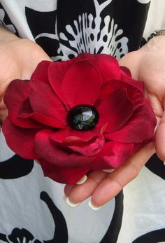 Cute as a Button Design - Deep Red Velvet Rose Hair Clip with Black Glass Vintage Button