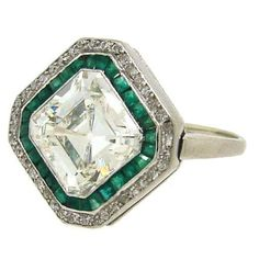 Art Deco 3.79 cts Asscher Cut Diamond, Emerald & Platinum Ring | From a unique collection of vintage engagement rings at http://www.1stdibs.com/jewelry/rings/engagement-rings/