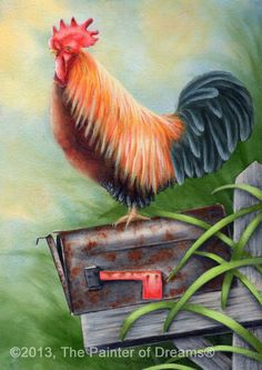 Rooster painting in Acrylics by Arkansas artist Sheri Hart