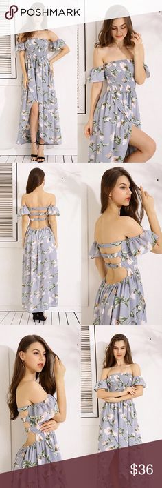 Shadow Blue Off Shoulder Floral Maxi Sizing Guide:  Best fits a 24-26in waist Length from the top to the longest part of the dress is 52in.   (I would recommend wearing a skirt slip underneath) Dresses Maxi