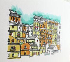 Porto print Porto poster porto watercolor print by aliaaessamart