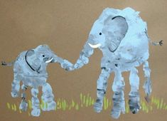 How beautiful Mum and baby elephant  hand print art <3