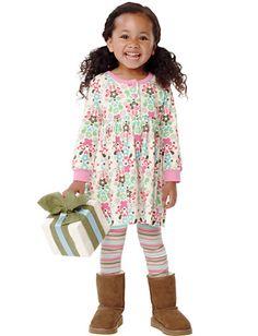 HA  Playdress - Soft White Print/Multi stripe leggings