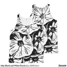 Inky Black and White Floral 3 All-Over-Print Tank Top - Comfy Moisture-Wicking Sport Tank Tops By Talented Fashion & Graphic Designers - #tanktops #gym #exercise #workout #mensfashion #apparel #shopping #bargain #sale #outfit #stylish #cool #graphicdesign #trendy #fashion #design #fashiondesign #designer #fashiondesigner #style