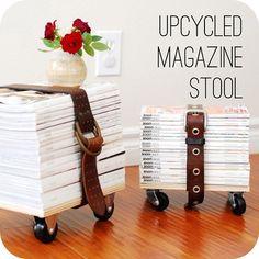 DIY: maak van je verzamelde tijdschriften een originele kruk