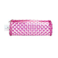 Trousse ronde basique transparente -  PVC - pois rose