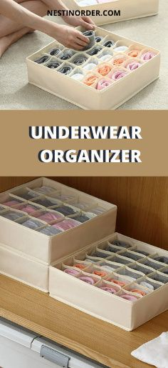 These storage containers drawers made of durable oxford fabric and premium plastic board,much stronger than the non-woven fabric and cardboard, the cells edge are made of premium mesh fabric,it ensures the internal air circulation and reduces the possibility of producing odor. Can be easily washed. #underwearorganization #closetorganization #nestinorder Underwear Storage, Underwear Organization, Dresser Drawer Organization, Closet Organization, Mesh Fabric, Woven Fabric, Plastic Board, Oxford Fabric, Drawer Organisers