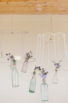 Stripped shades with hanging bottles