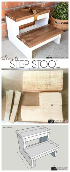 Simple step stool, DIY step stool, old wood step stool, stool, step. Woodworki… Woodworking crafts - wood working projects - Simple step stool DIY step stool old wood step stool stool step.