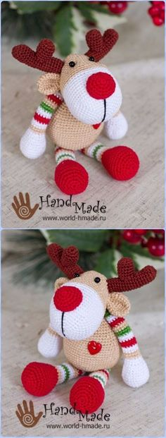 Crochet New Year Reindeer Rudolph Free Pattern - Crochet Amigurumi Deer Toy Softies Free Patterns