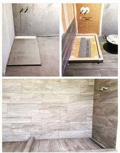 Badkamerrrenovatie #inloopdouche #keramischetegel #parketvloer #design #interior #vloerentegelwerken www.vl-construct.be