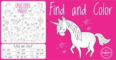 Free unicorn find and color is a from Unicorn Sensory Motor Packet. Children can practice visual discrimination, visual scanning and visual motor skills