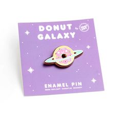 "Space donuts! - 1.25"" x .7"" - Hard enamel - Gold and Silver plating - Rubber clutch backing"