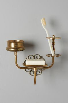 Anthropologie Brass Trinket Bath Caddy