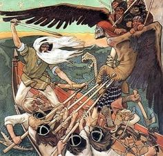 The Defense of the Sampo (Sammon puolustus) is a 1896 Romantic nationalist painting by Finnish painter Akseli Gallen-Kallela. The painting illustrates a passage from the Kalevala, the Finnish national epic compiled by Elias Lönnrot in the century. Runes Futhark, Museum Kunstpalast, Goddess Of The Underworld, My Demons, Gods And Goddesses, Tempera, Held, Mythical Creatures, Folklore