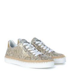 Laterale Sneaker bassa Hogan Rebel H260 in pelle stampa rettile beige e oro