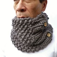 Men's Cowl Gray Handknitted Cowl scarf neckwarmer by moaningminnie, $45.00 Crochet Mens Scarf, Crochet Scarves, Crochet Yarn, Crochet Clothes, Loom Knitting, Hand Knitting, Snood Pattern, Cowl Scarf, Beautiful Crochet