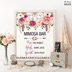 Printable MIMOSA BAR. Bohemian Bridal Shower Sign. Boho Floral Bridal Shower Decoration. Dreamcatcher Decor. Rustic Feathers.