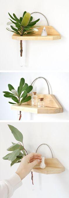 Hanging shelf, hanging vase, shelf vase, reclaimed wood, minimalist, minimal vase, test tube vase, minimalis home by Kirraleeandco on Etsy | Australian design | Christmas gift for the home