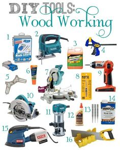 DIY Tools: Wood Working DIY Wood Working Tools For The Beginner – Jackie @ Teal & Lime recommends her favorites along with a few personal examples of how she used them with her own projects. Gotta love it!